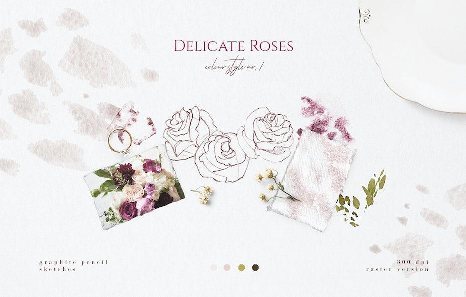 mood board for flower arrangement