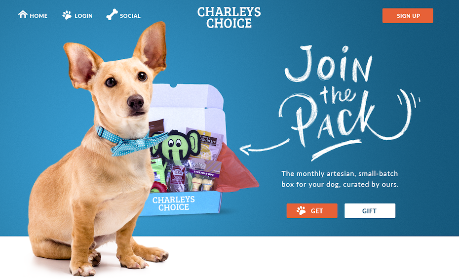 dog subscription box website in blue and orange