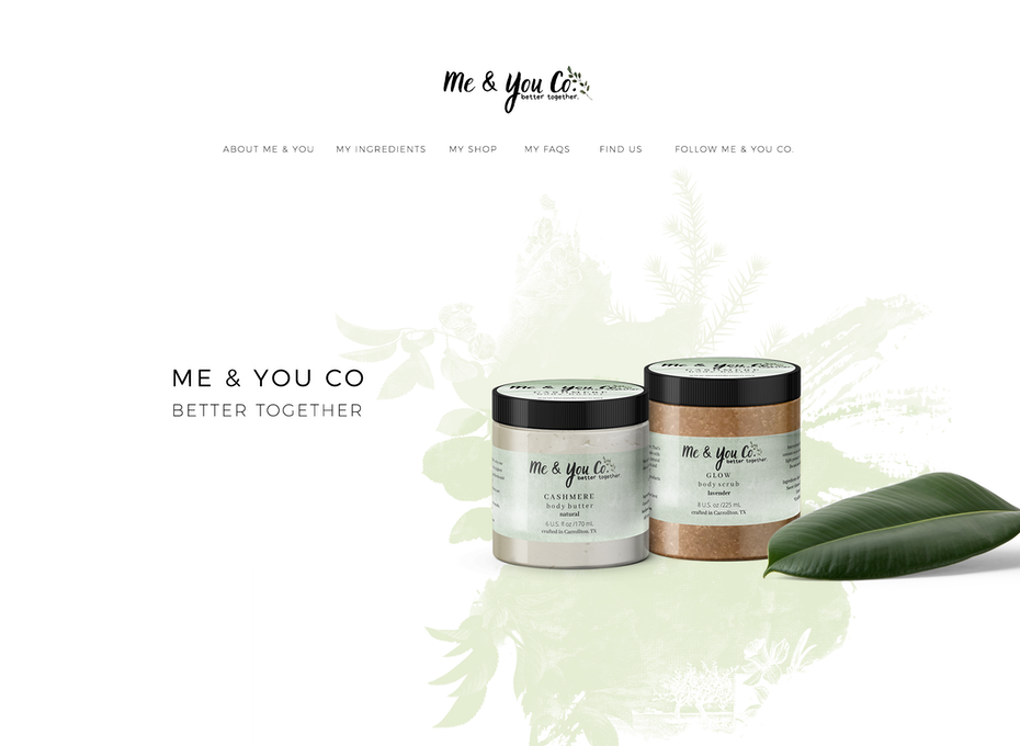 white website showcasing body care products