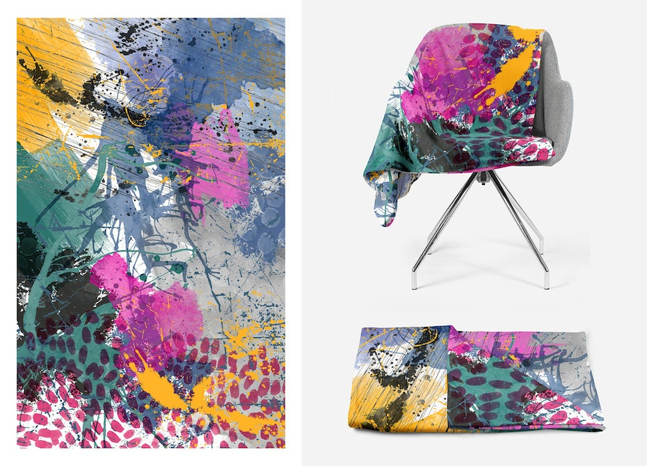 multicolored graphic textile on a chair