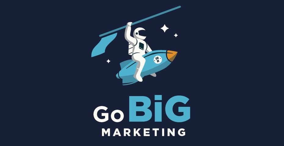 logo showing an astronaut riding a rocket like a pony