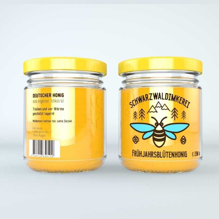 jar of honey and its logo