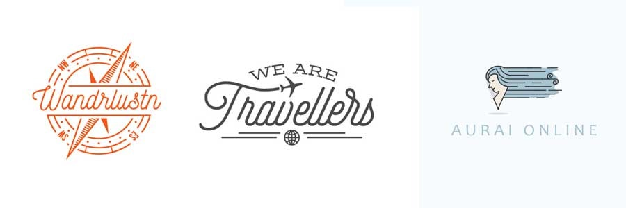 Unique travel logos