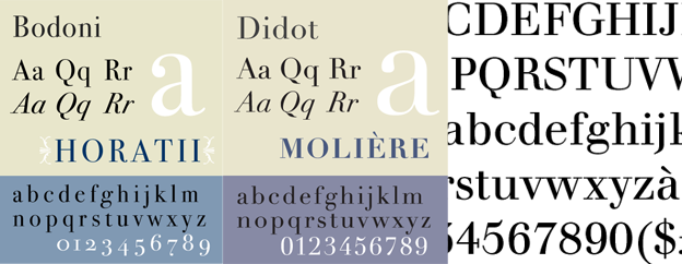 Bodoni, Didot and Walbaum typefaces