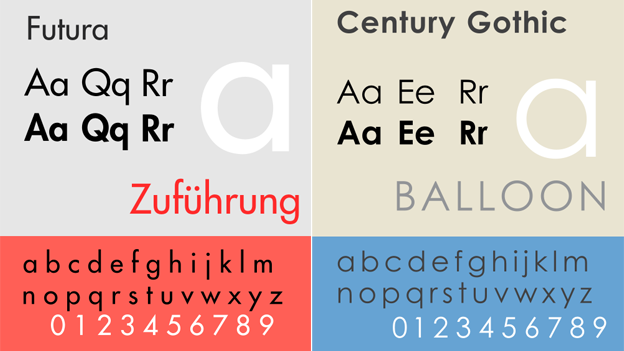 Futura and Century Gothic typefaces