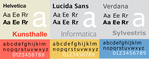 Helvetica, Lucida Sans and Verdana typefaces