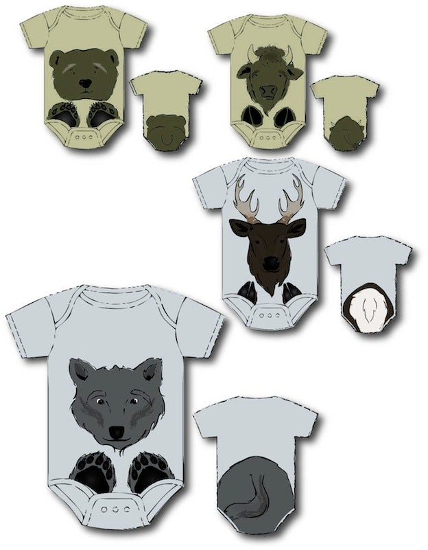 Animal illustrations for baby onesies.
