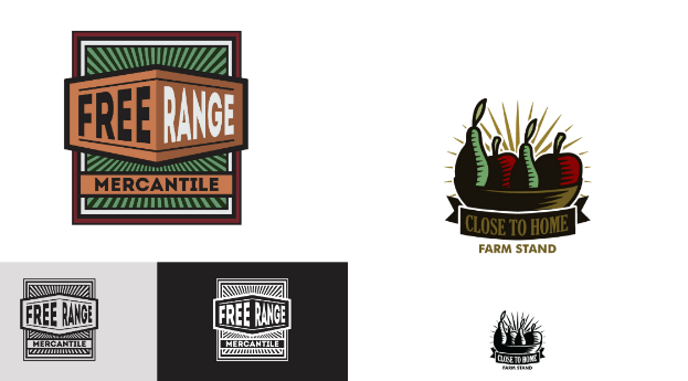 Logo designs by firekarma left and the13thdesign right art deco logo