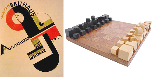 a bauhaus publication left alongside the famous bauhaus chess set which has square pieces that can pack together into a compact grid for storage right