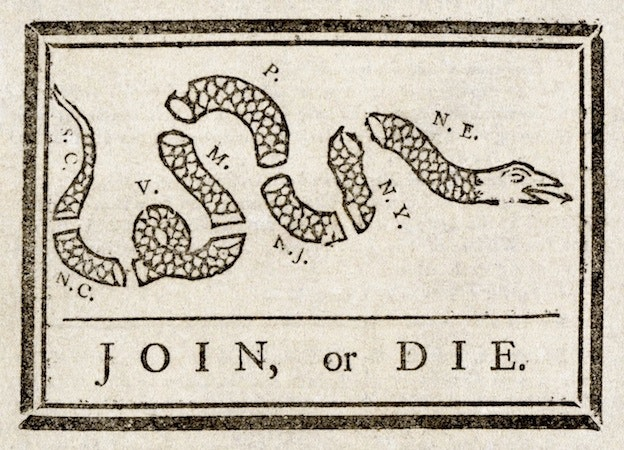 """Join or Die"" famous poster"