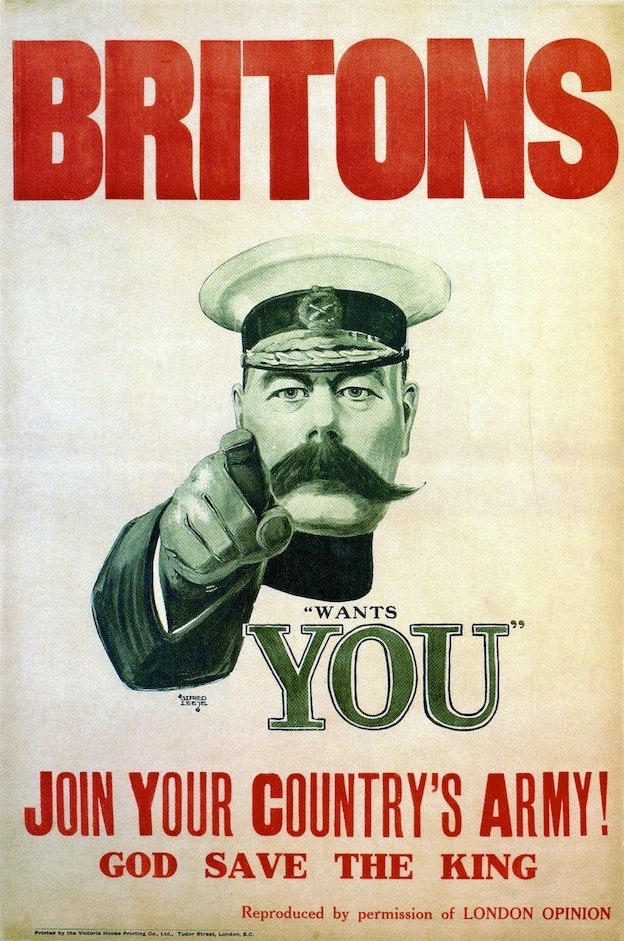 Recruitment poster: Kitchener Poster, 1914