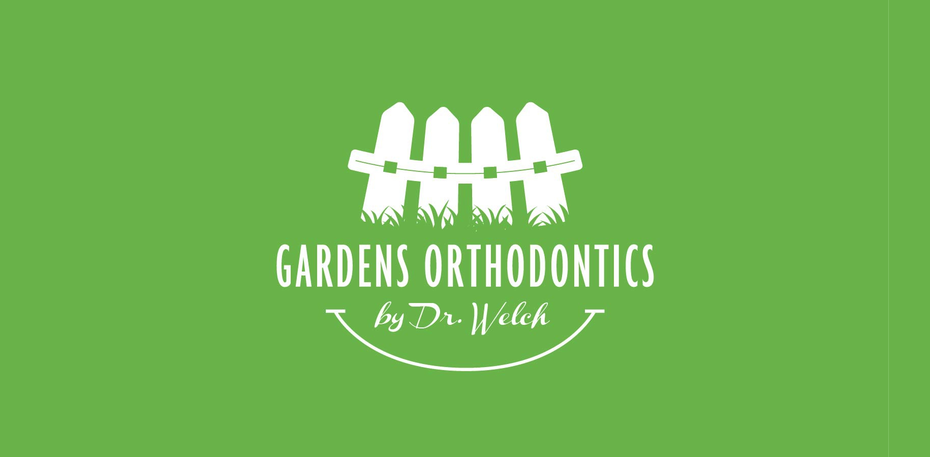 gardens orthodontics logo with smile braces