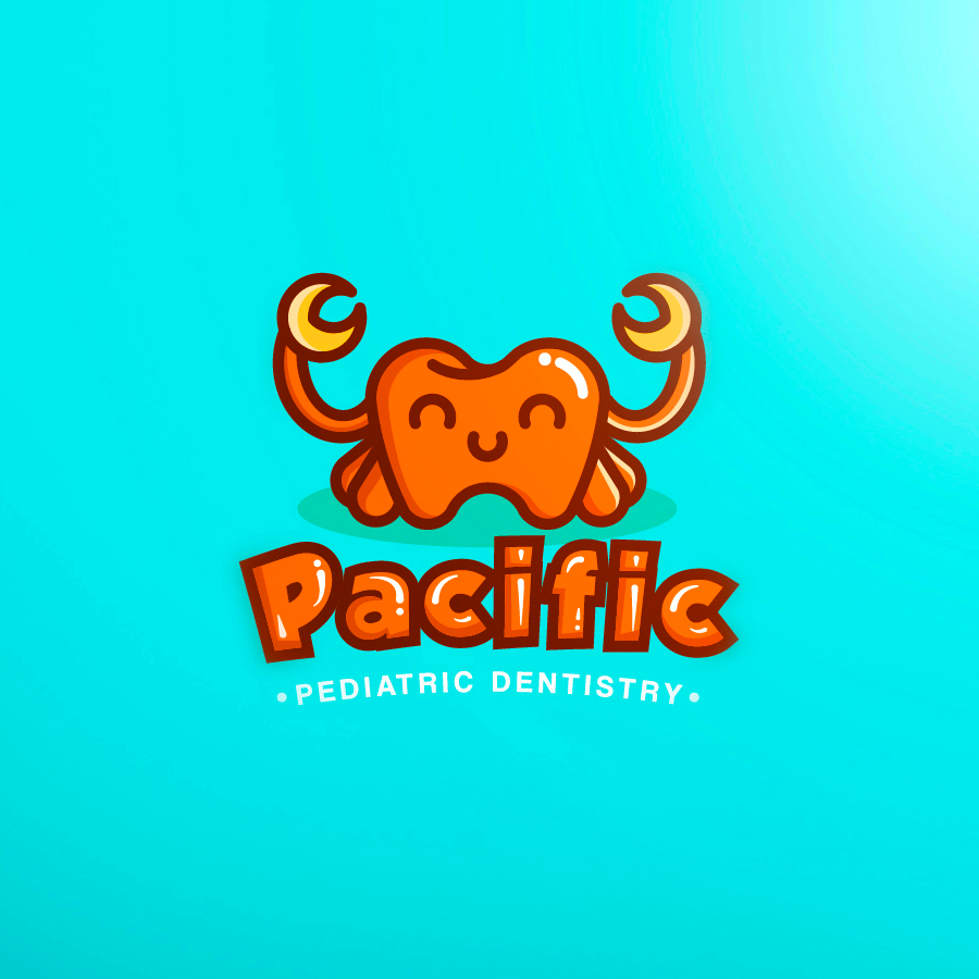 crab tooth logo for pediatric dentist