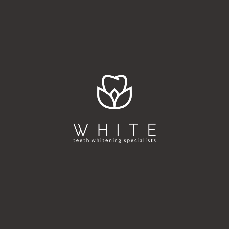 white tooth flower dental logo