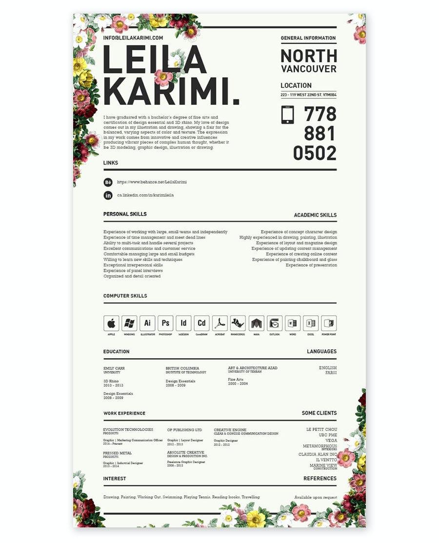 floral resume design