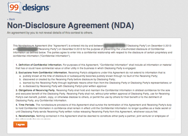 Non Disclosure Agreement  Disclosure Agreement Sample