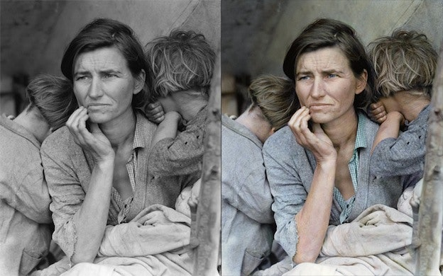 Migrant mother Dorothea Lange black and white photo colorization