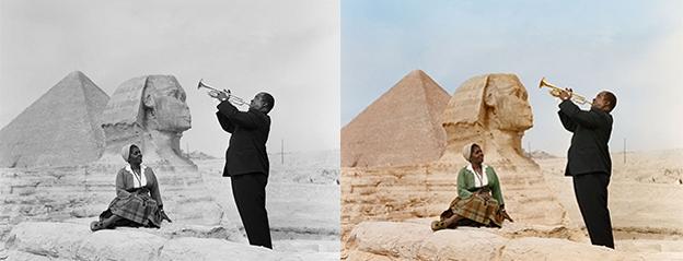 Louis Armstrong Cairo 1961 black and white photo colorization