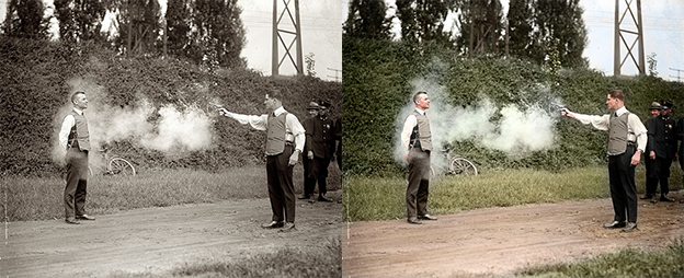 Bulletproof vest testing black and white photo colorization