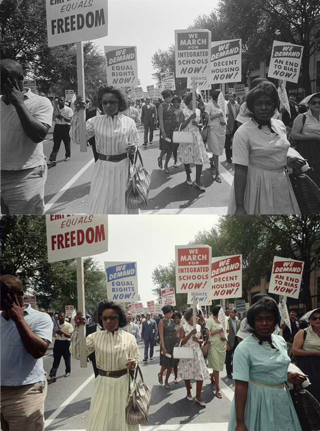 civil rights black and white photo colorization