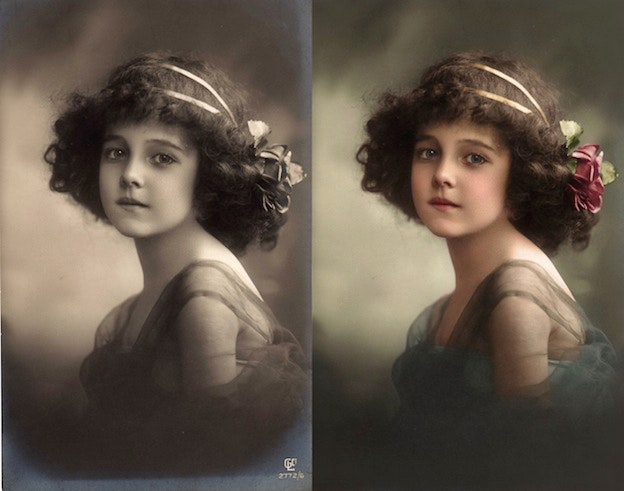Grete Reinwald, c. 1910 black and white photo colorization