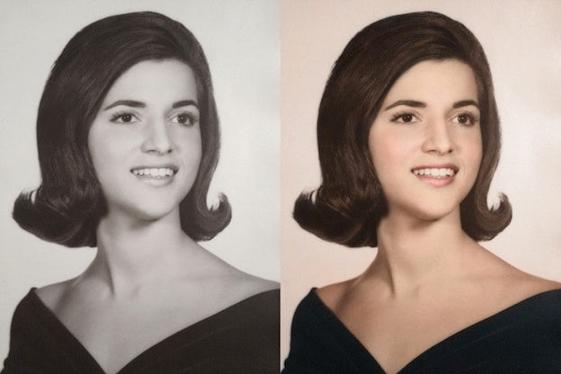 High School Senior Portrait 1960 black and white photo colorization