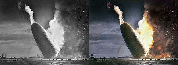 Hindenburg black and white photo colorization