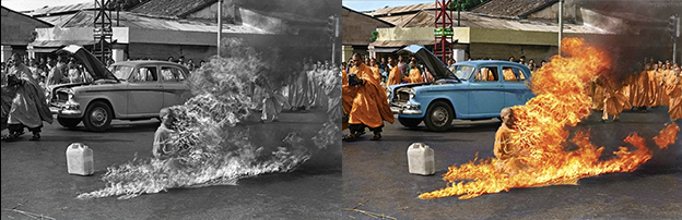 the self-immolation of Thich Quang Duc black and white photo colorization