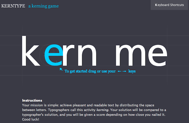 Kerning tips Kerntype kerning game