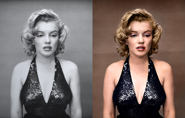 Marylin monroe black and white photo colorization