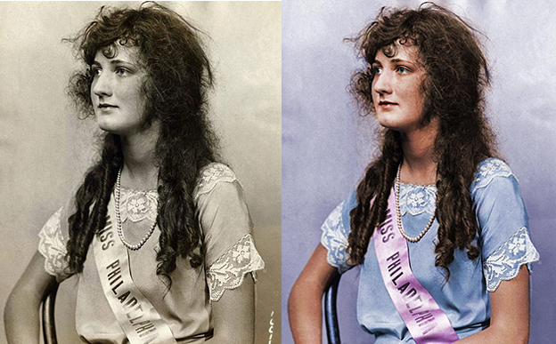 Miss America 1924 black and white photo colorization