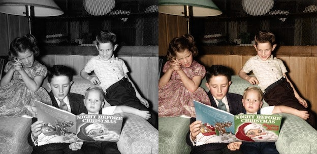 family black and white photo colorization