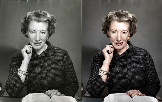 Lois Mattox Miller black and white photo colorization