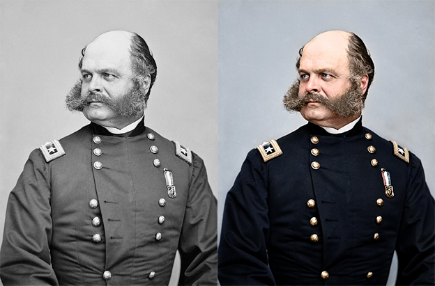 US General Ambrose Burnside 1865 black and white photo colorization