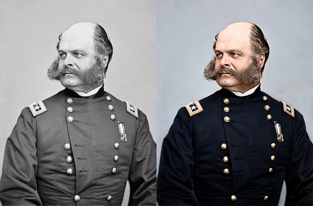 US General Ambrose Burnside 1865 black and white photo colorization