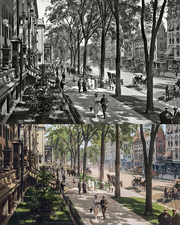 Saratoga Springs black and white photo colorization