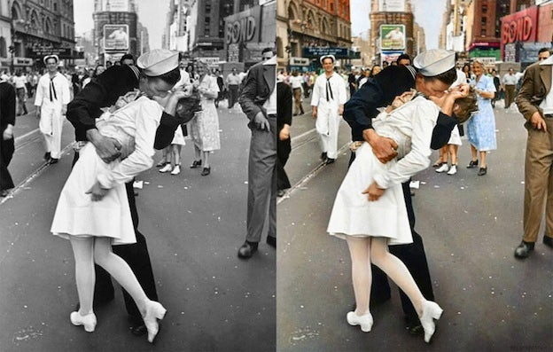 V-J Day in Times Square black and white photo colorization