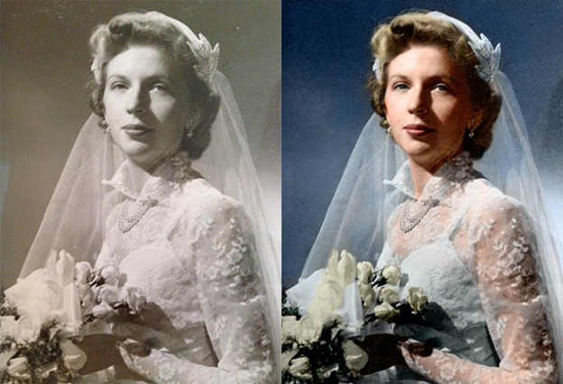 bride black and white photo colorization
