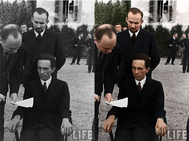goebbels scowling black and white photo colorization