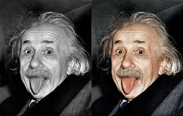 Albert Einstein tongue black and white photo colorization