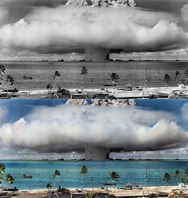 bikini atoll black and white photo colorization