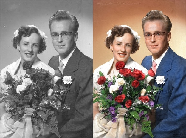 wedding photo black and white photo colorization