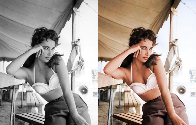 elizabeth taylor black and white photo colorization