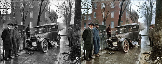 Car wreck 1921 black and white photo colorization