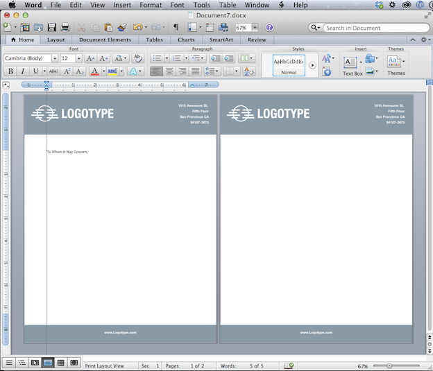Convert your letterhead design into an editable MS Word template
