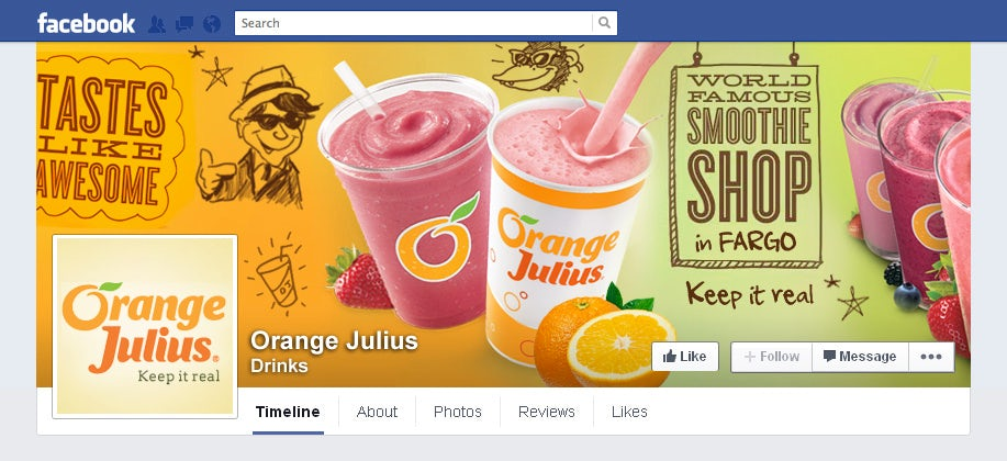 facebook cover for orange julius with smoothies