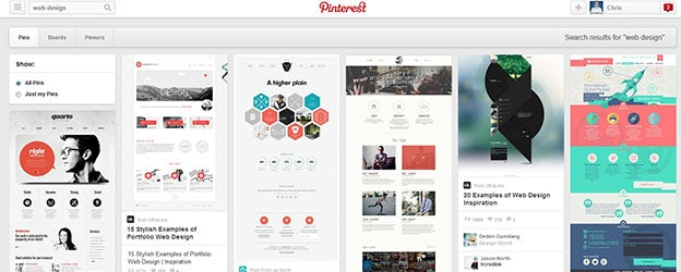 pinterest is a great way of exploring new web design ideas through their well known grid system a simple search will yield a seemingly infinite result of - Web Design Ideas