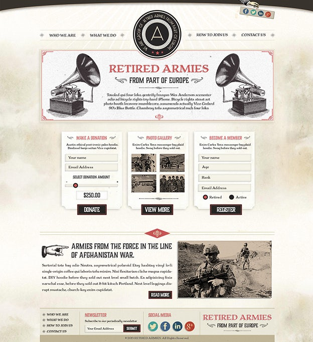 Retired Armies web design by Hitron