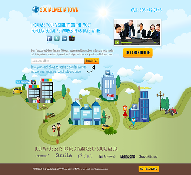 Social Media Town web design by Hitron