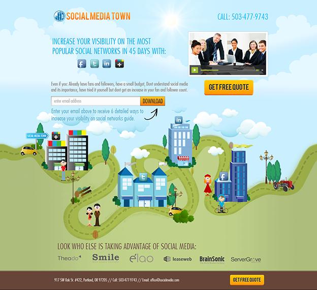 Social Media Town web design by Hitron